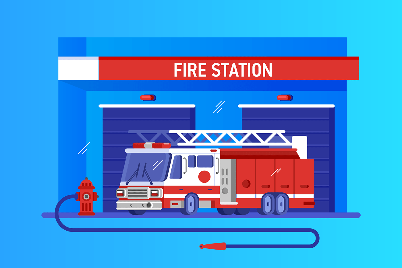 Fire station with truck. Rapid response service