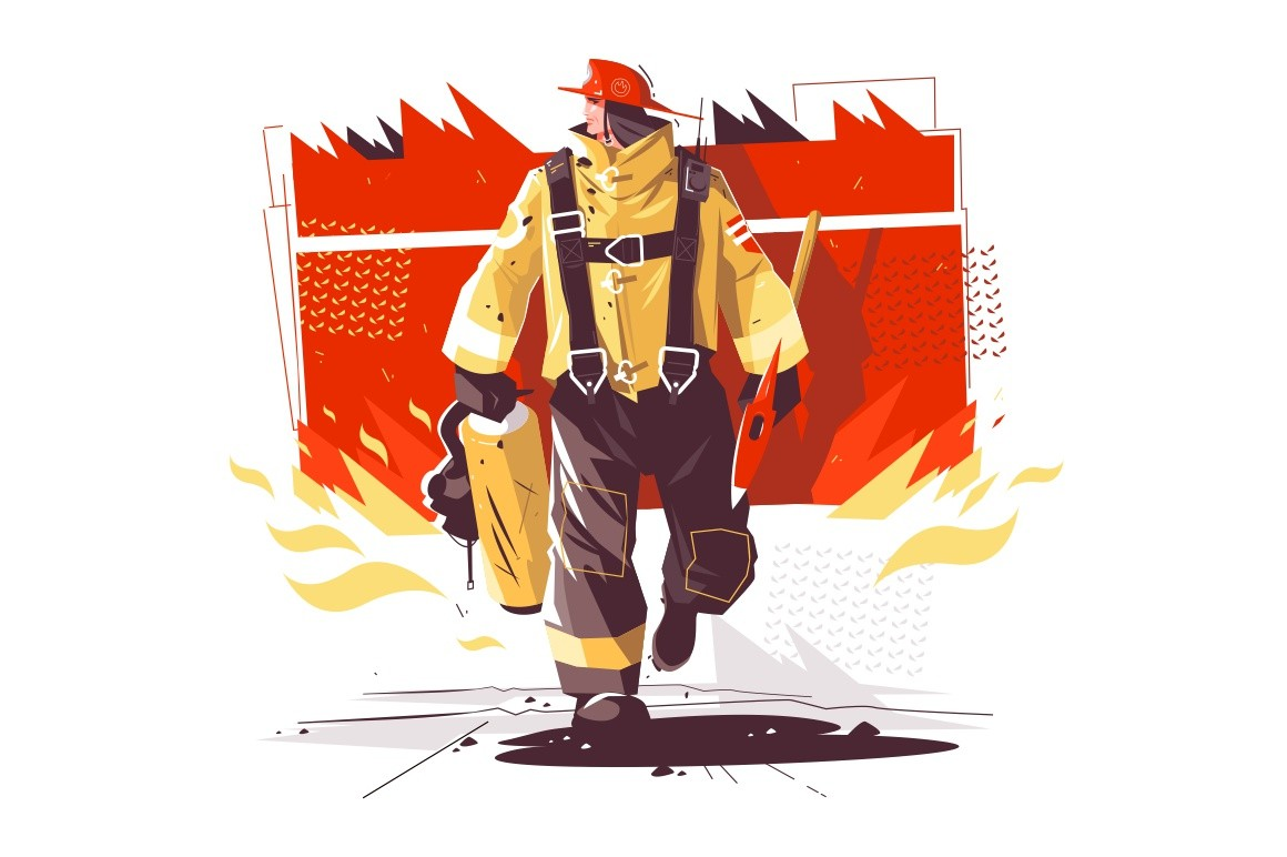 Firefighter characters with rescue equipment vector illustration. Burning building behind brave man in protective helmet cartoon design. Emergency concept