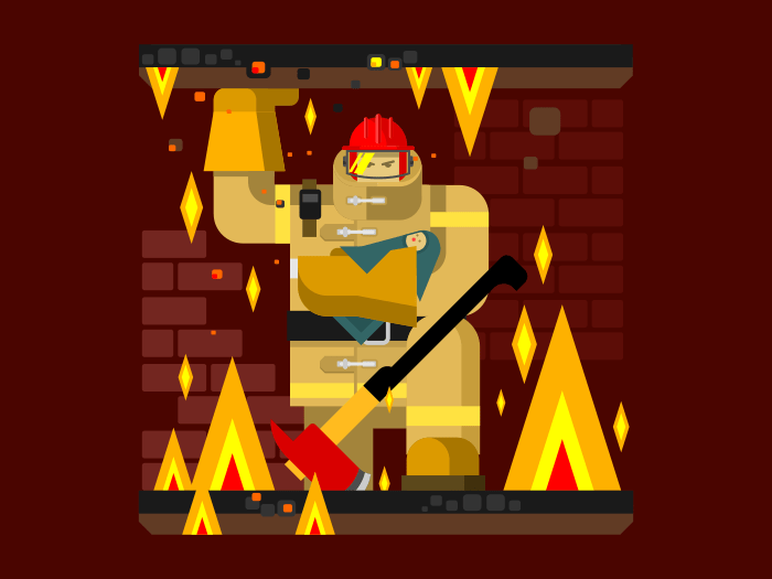 Fire man character with baby flat vector illustration