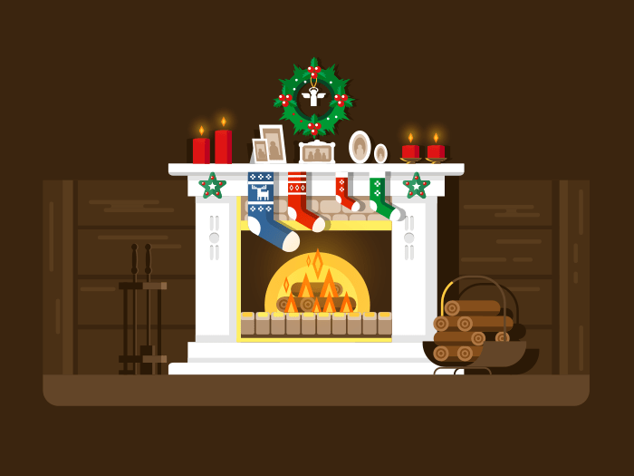 Christmas fireplace flat vector illustration