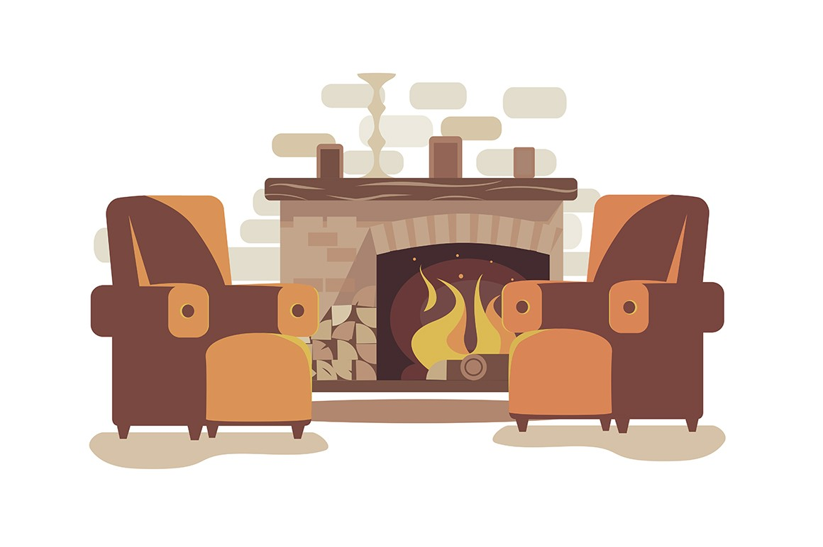 Cozy fireplace at home vector illustration. Comfortable chimney place with fire and soft arm-chairs flat style concept. Photos and candlestick on mantelpiece. Homely corner for relaxation