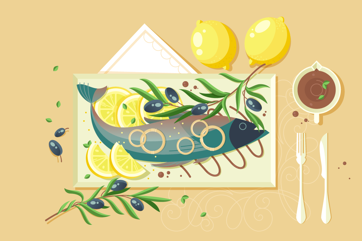 Flat food with souce, lemon, fish, green for seafood dish.