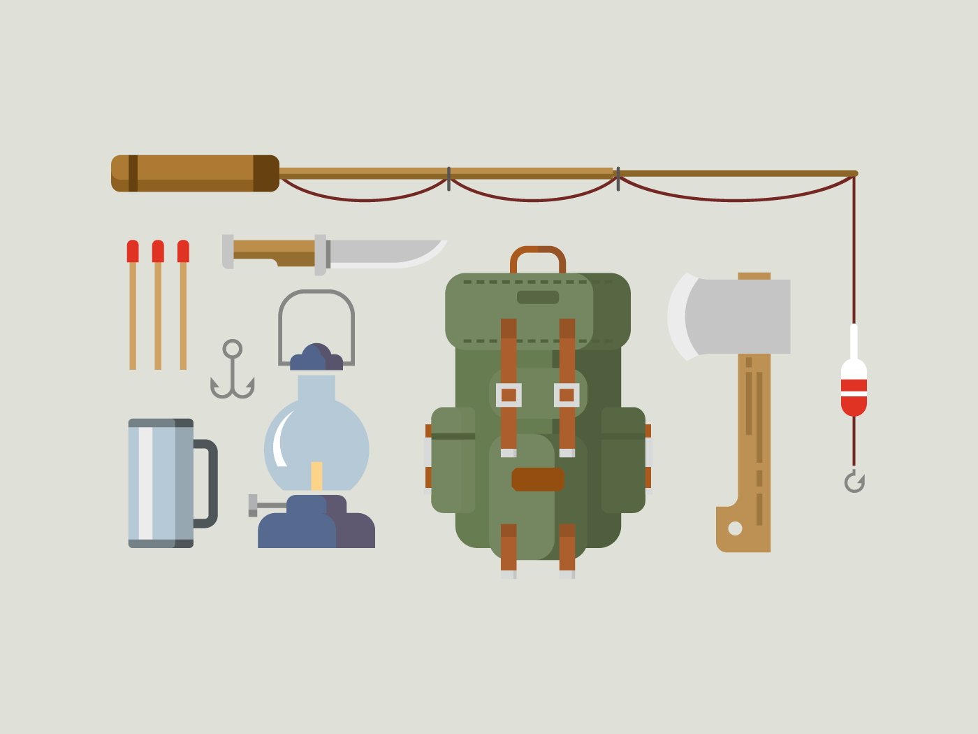 Fishing hunting items flat icons