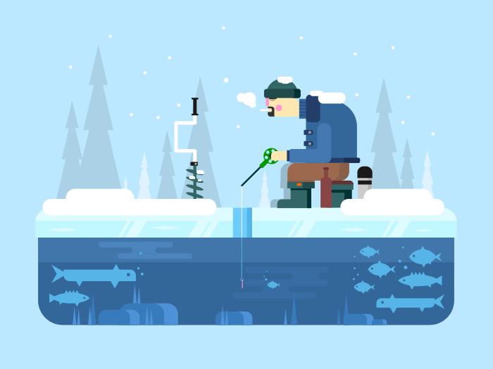 Man on winter fishing flat vector illustration