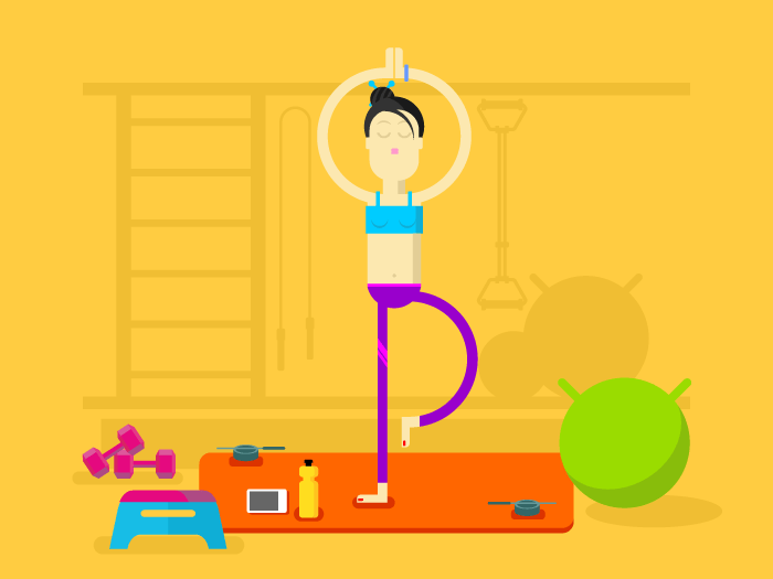 Girl is engaged in yoga flat vector illustration