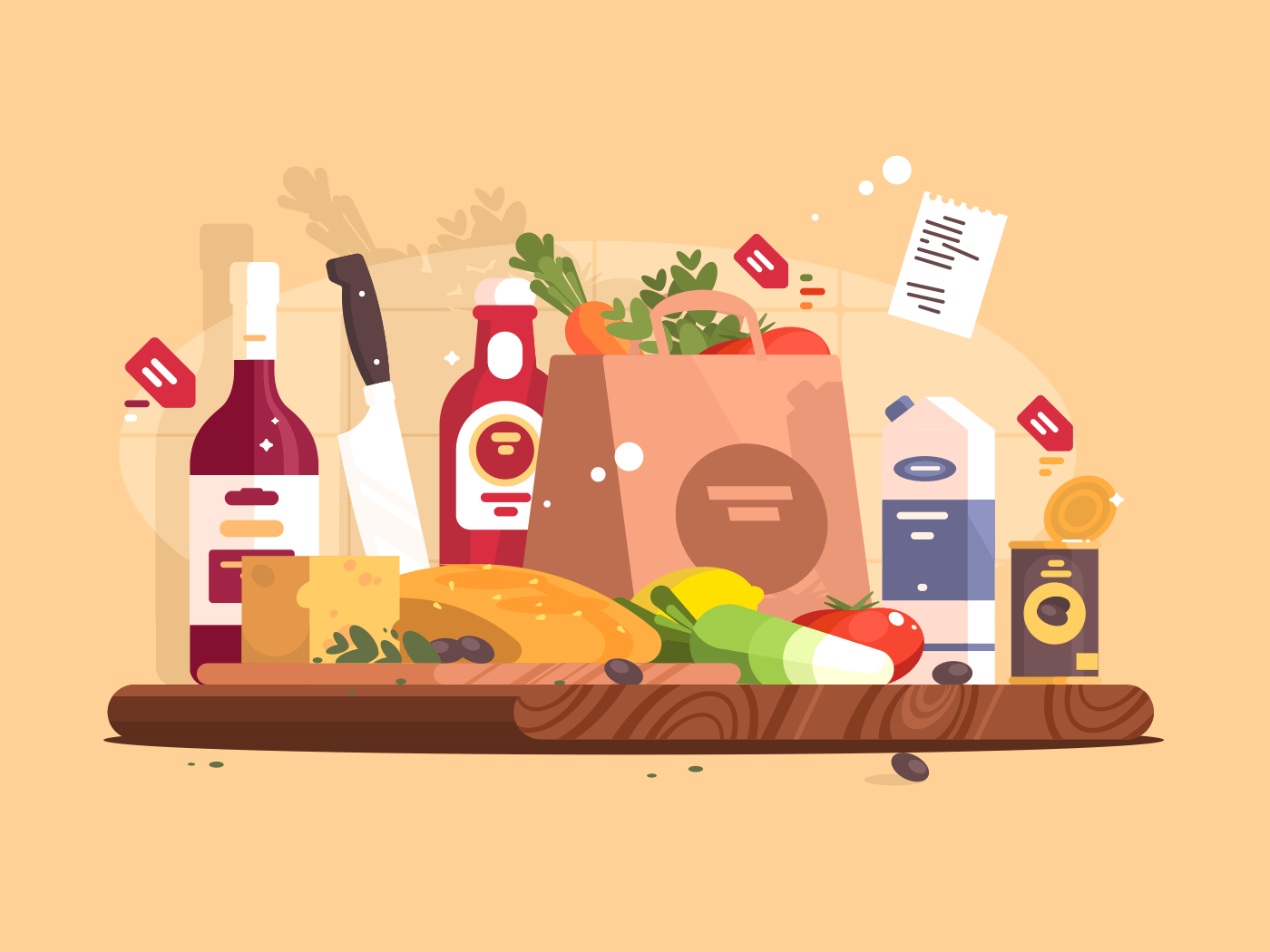 Food and ingredients for cooking. Vegetables, bread, cheese in kitchen. Vector illustration