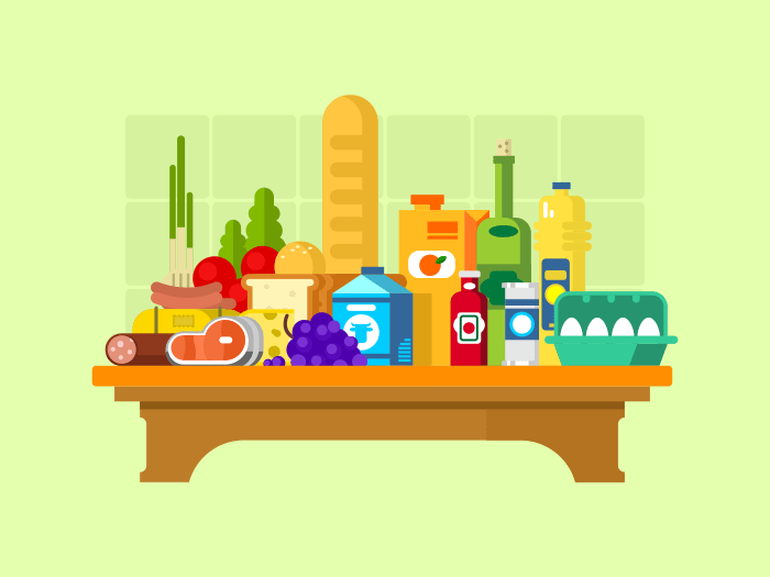 Food set flat vector illustration