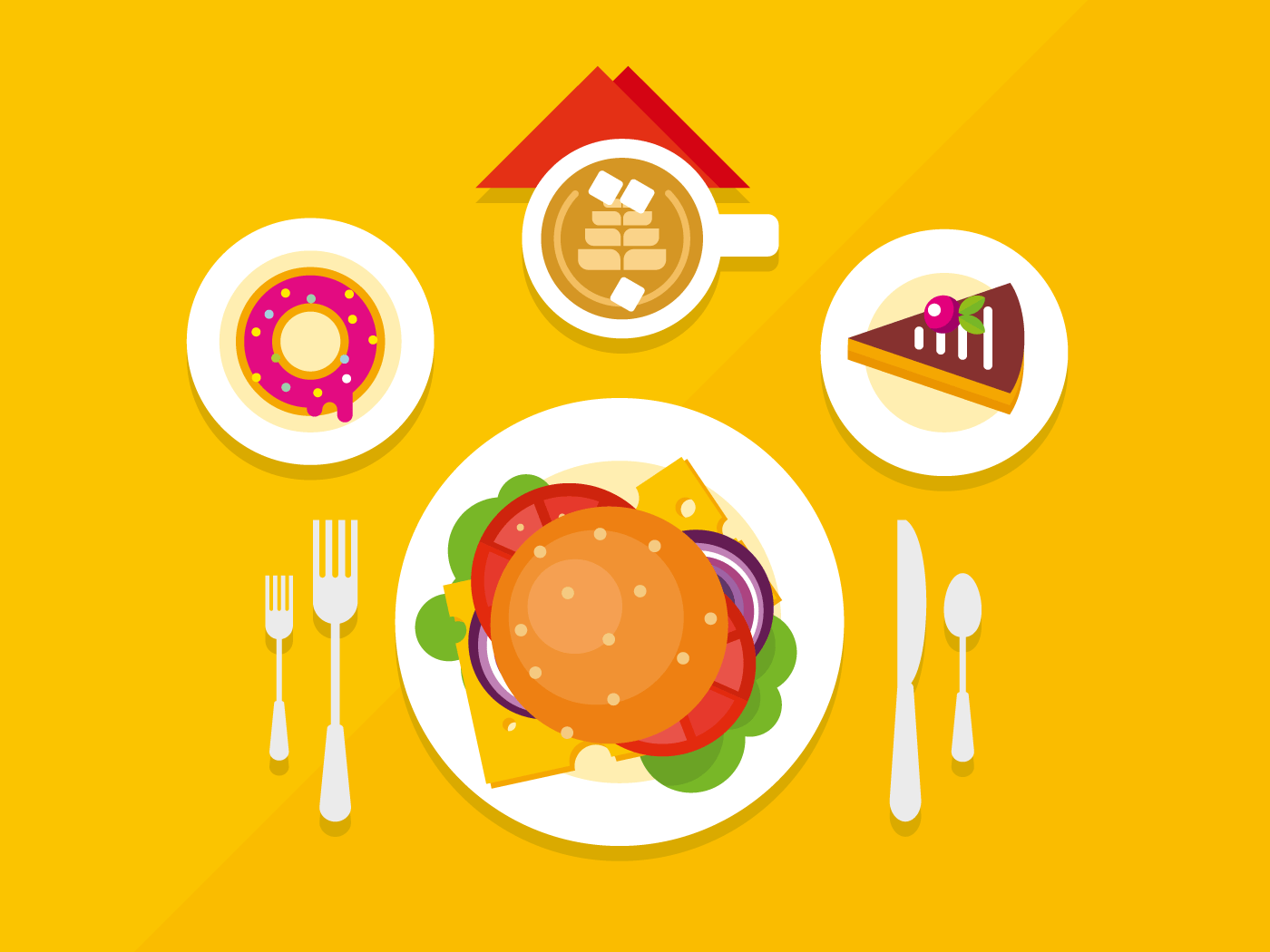 Food objects on table flat vector illustrationillustration