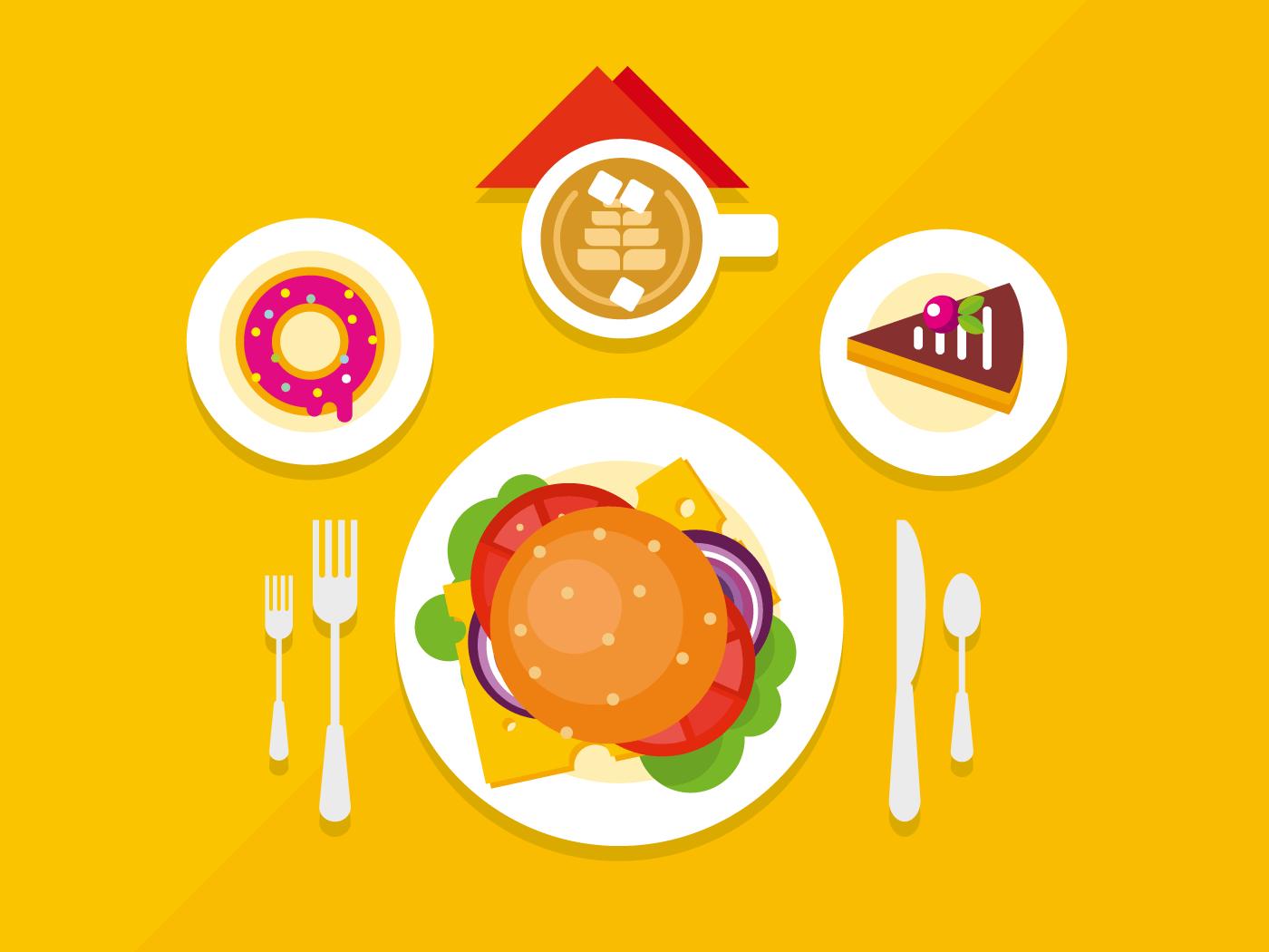 Food objects on table flat vector illustrationillustration