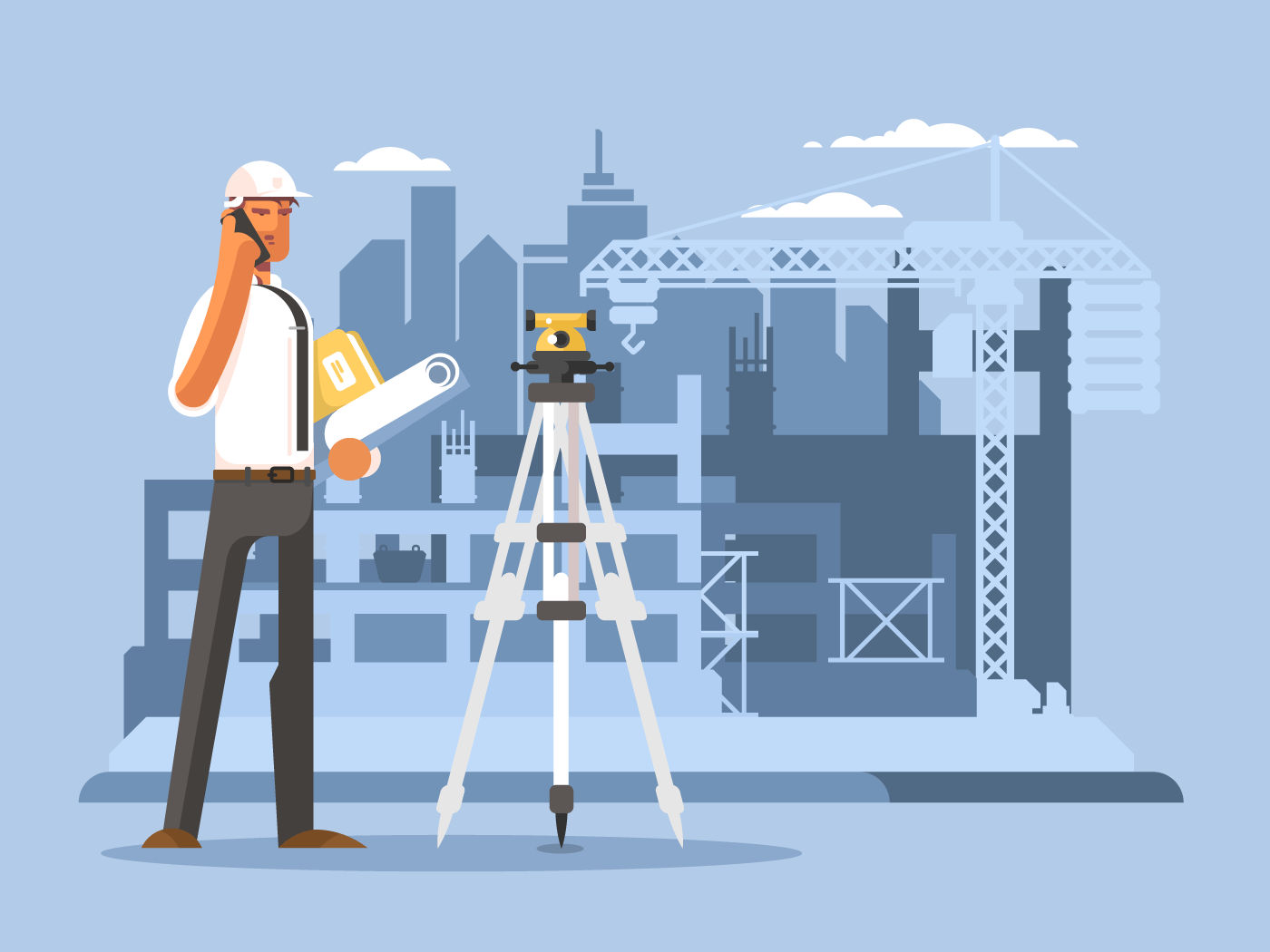 Foreman on construction flat vector illustration