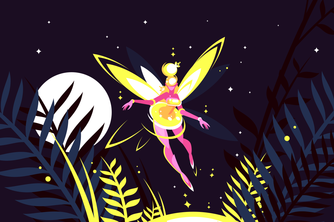 Beautiful fairy flying in night forest vector illustration. Clear sky with bright stars and moon light on background flat style concept. Nighttime magic scene with fireflies