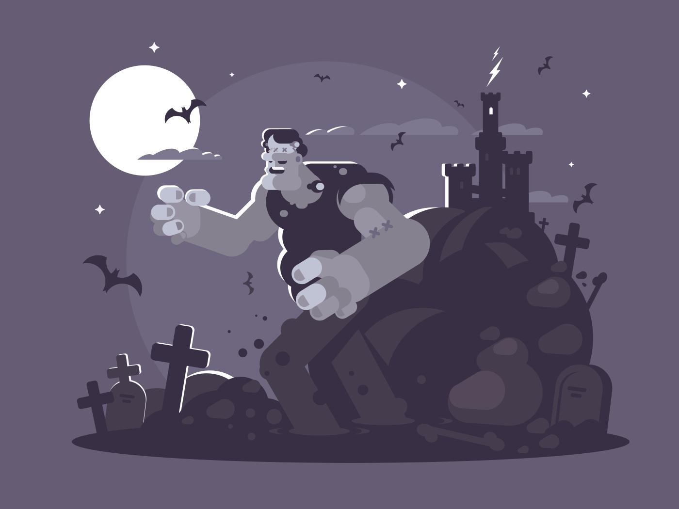 Frankenstein cartoon character. Ugly dead walk through cemetery. Vector illustration