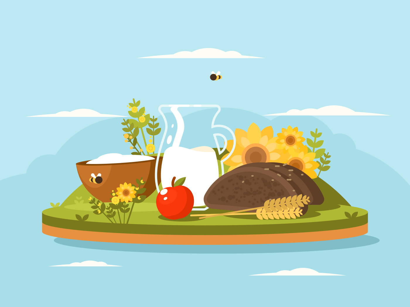 Fresh dairy products. Milk and cottage cheese with bread. Vector illustration
