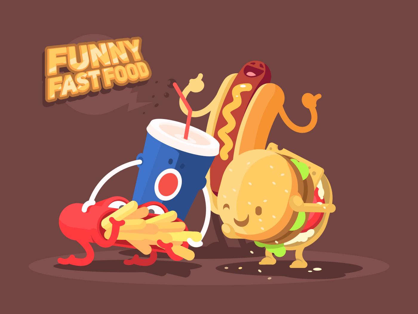 Funny fast food illustration