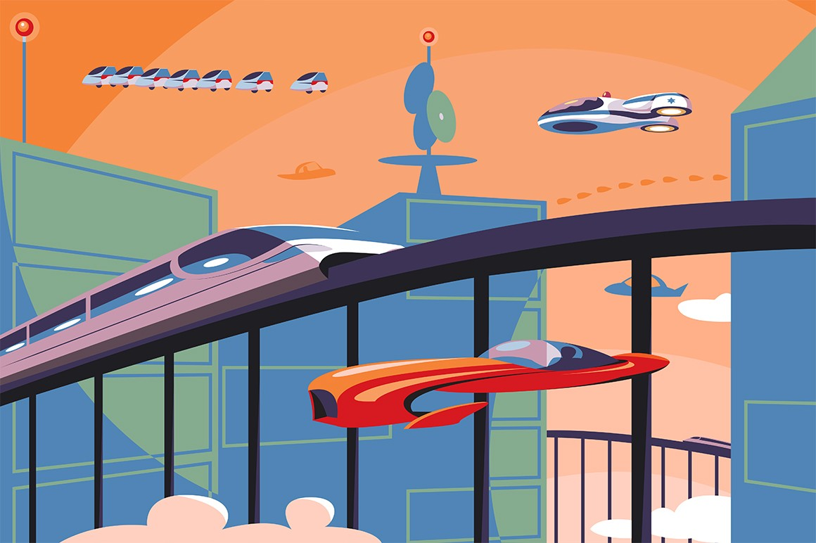 Future transportation in metropolis vector illustration. Futuristic cars and trains flying over city flat style concept. Modern cityscape on background