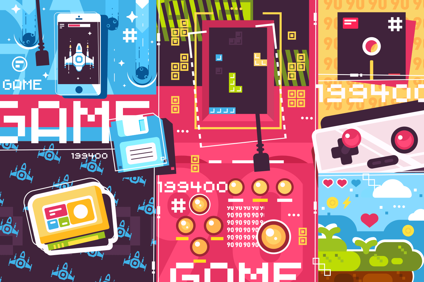 Video game abstract background. Retro and modern plays use smartphone or joystick computer. Vector illustration
