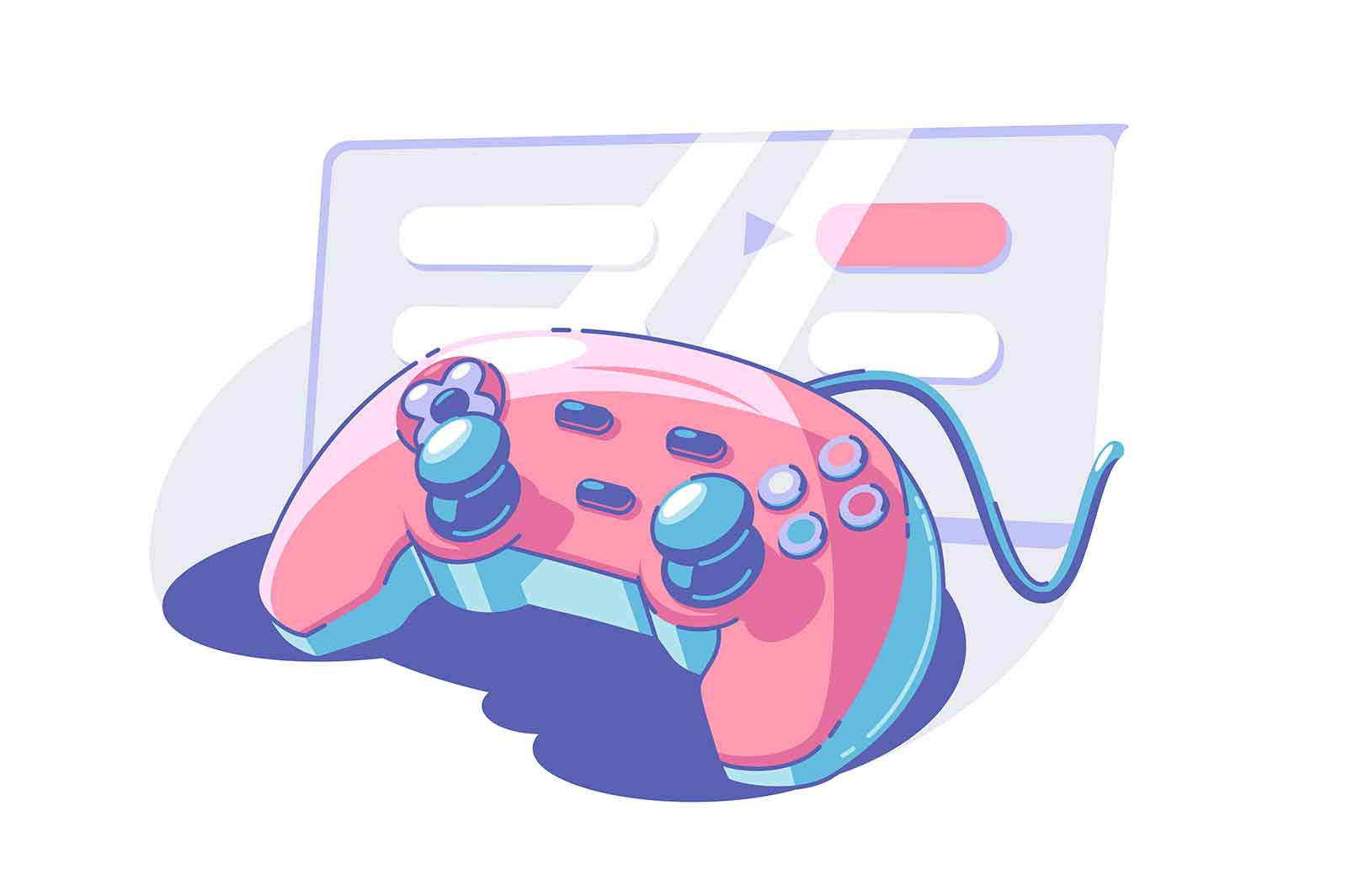 Bright gamepad with knobs vector illustration. Joystick or controller flat style. Fun pastime. Gaming and entertainment concept. Isolated on white background