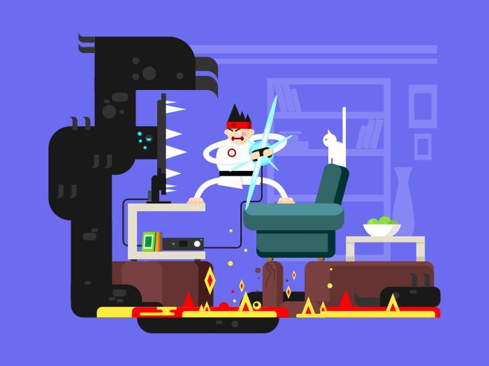 Gamer cartoon character flat vector illustration