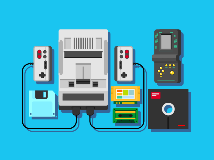 Computer game items flat vector illustration