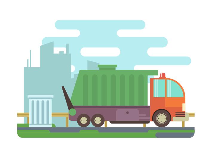 Garbage truck flat vector illustration