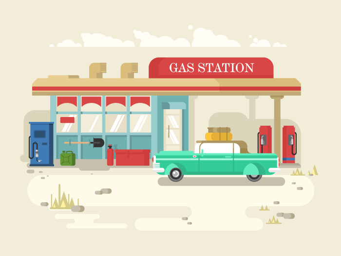 Gas stantion retro flat vector illustration