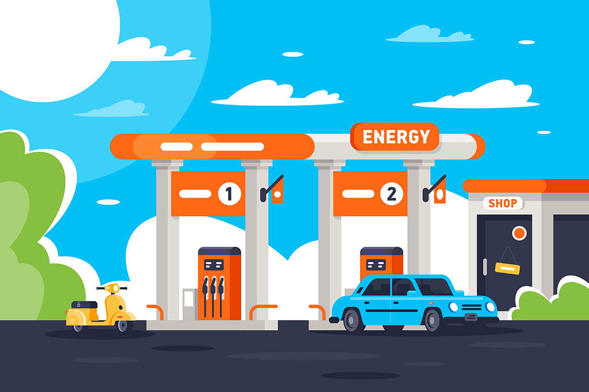 Flat gas station with shop, modern urban car, moped.