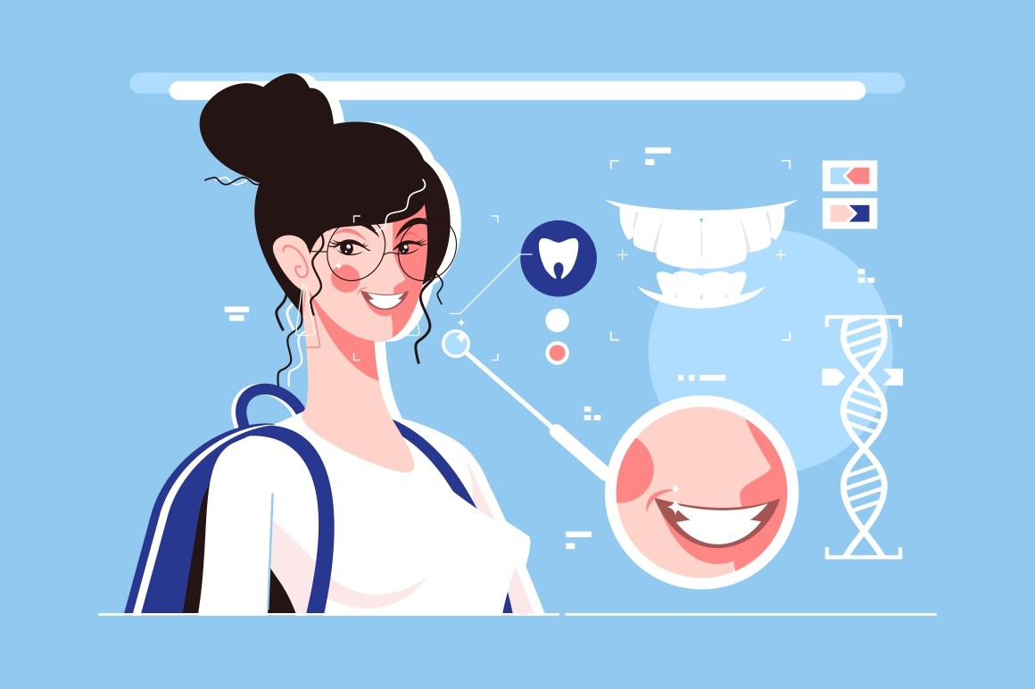 Genetic engineering of beautiful teeth vector illustration. Cheerful woman with perfect smile flat style. Deliberate modification of characteristics of organism by manipulating its genetic material
