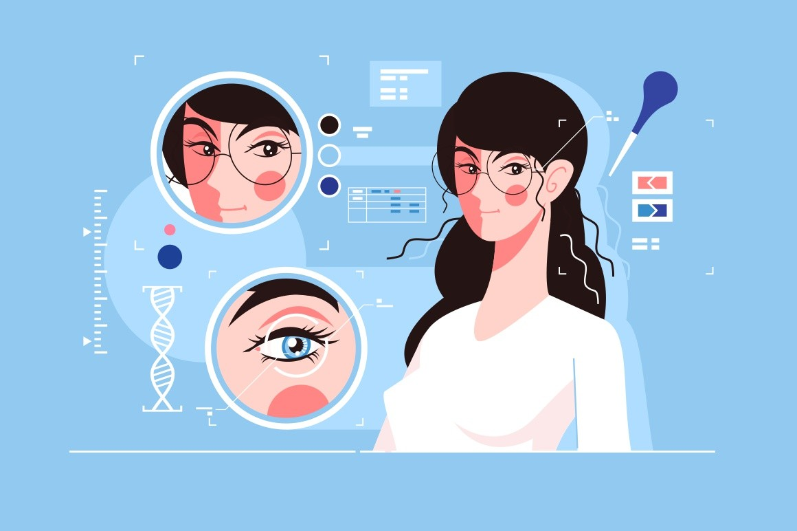 Genetic engineering of charming eyes vector illustration. Cute girl with beautiful brown and blue eyes fat style concept. Genetical deliberate modification of characteristics of organism