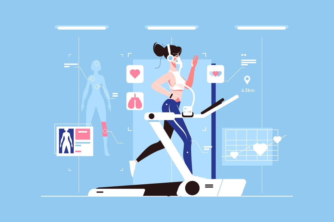 Genetic engineering of healthy body vector illustration. Girl with perfect figure running on treadmill flat concept. Modification of characteristics of organism by manipulating its genetic material