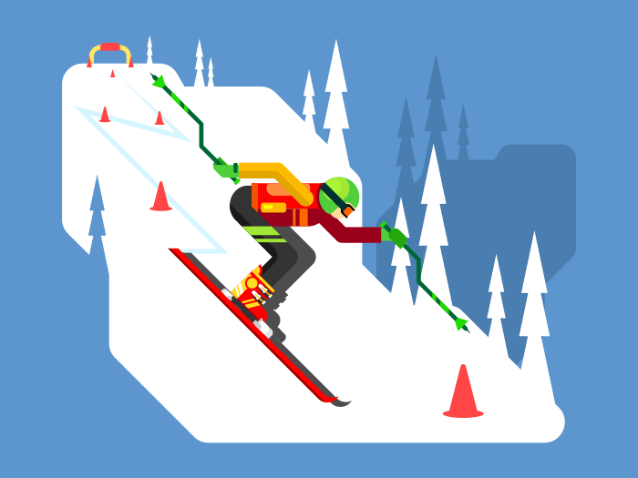 Slalom downhill skiing flat vector illustration