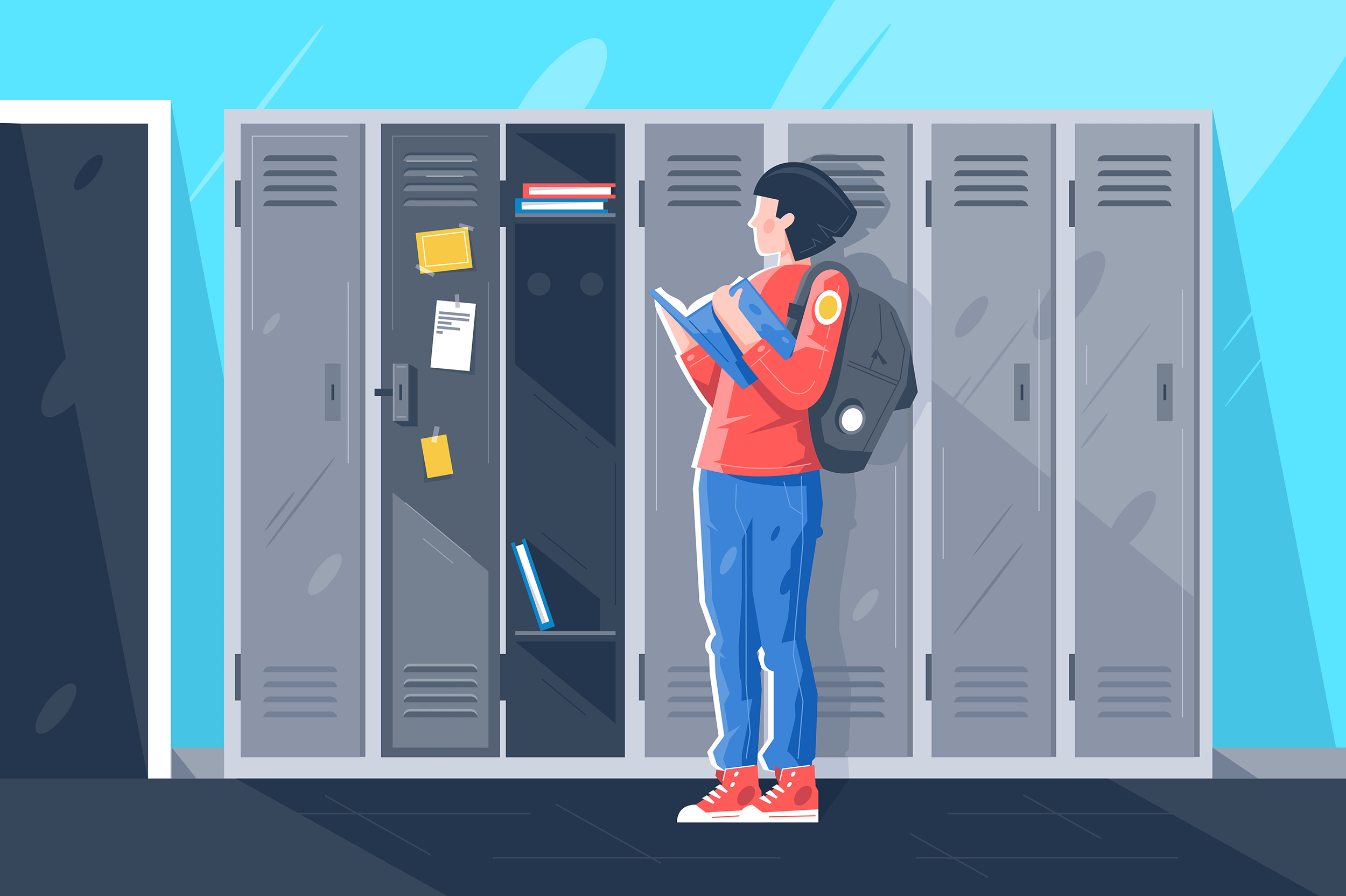 Flat young girl with book at school lockers.