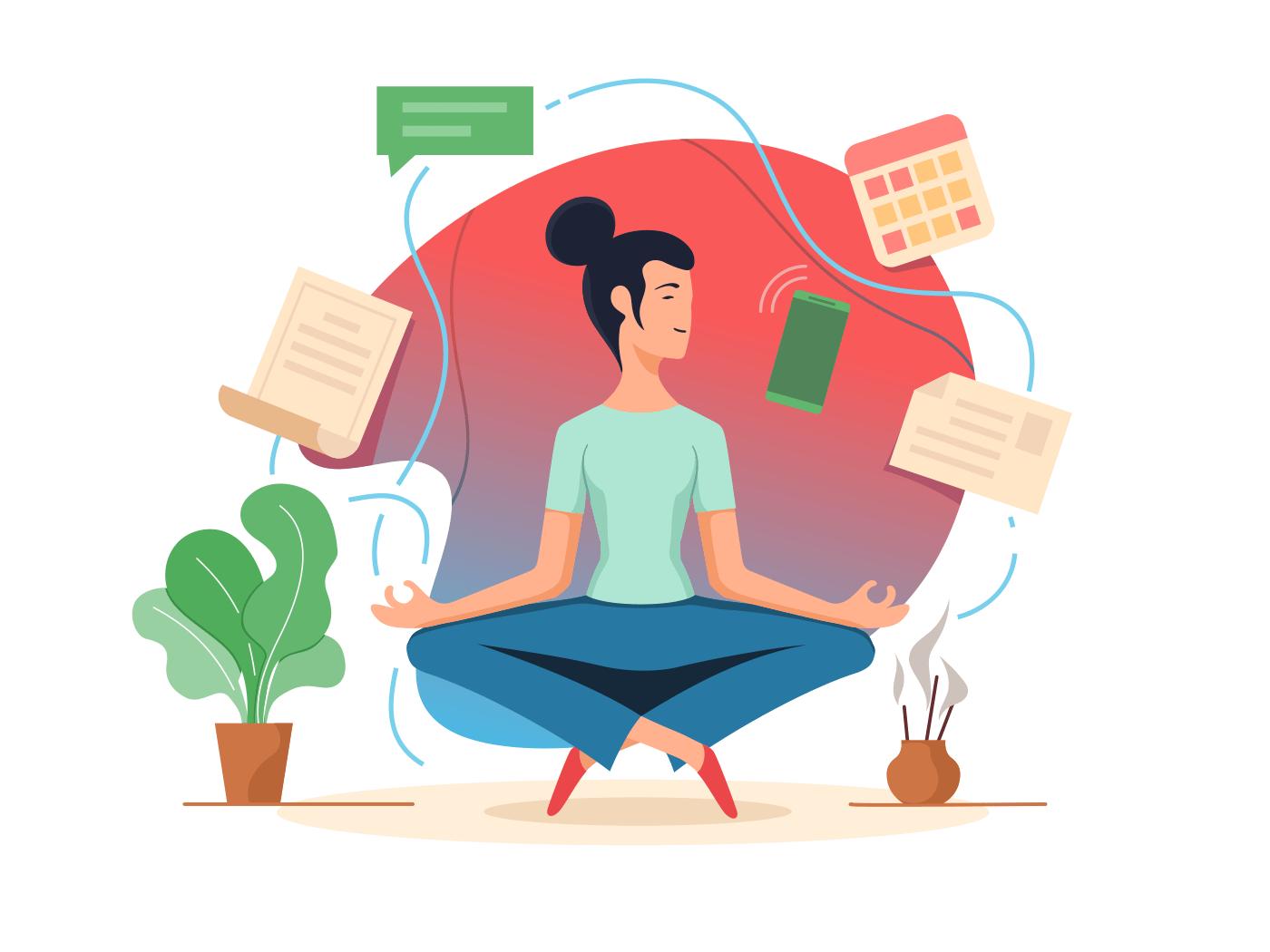 Woman balancing in lotus position