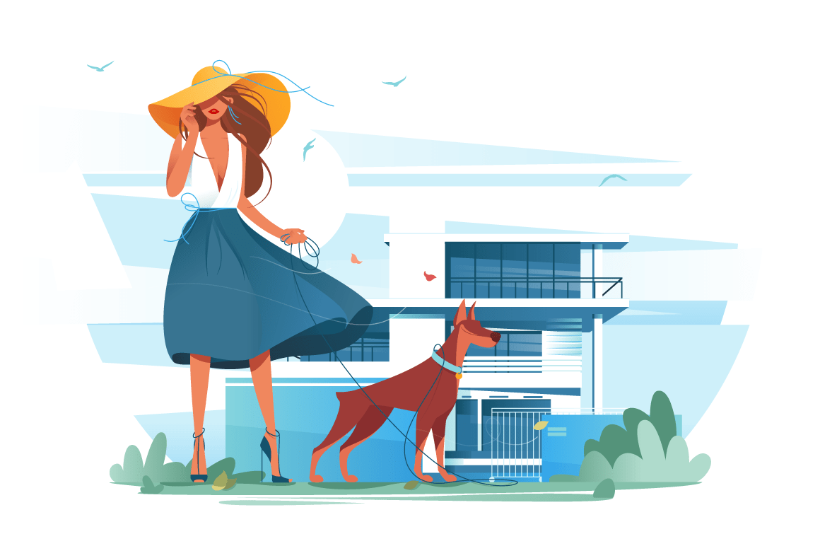 Flat young silhouette woman with hat, dress and dog near cottage.