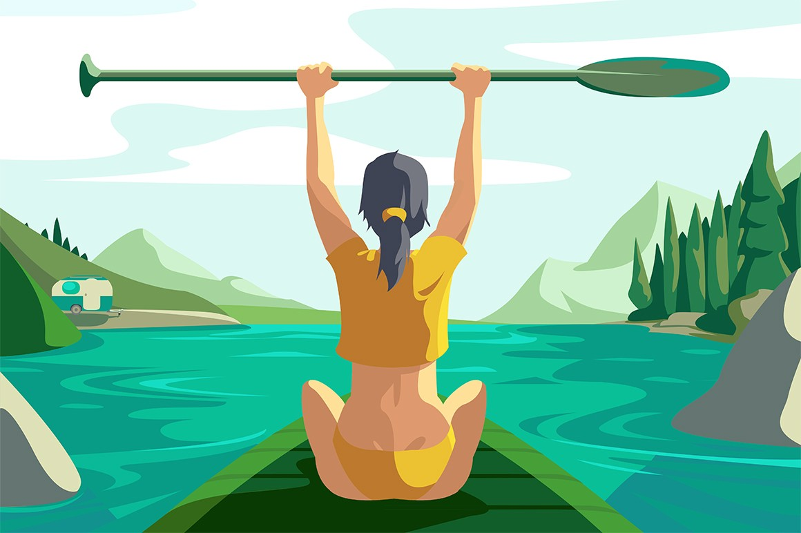 Cute woman on lake vector illustration. Girl sitting on sup board and holding paddle in hand flat style concept. Picturesque summer landscape. Extreme water sports concept