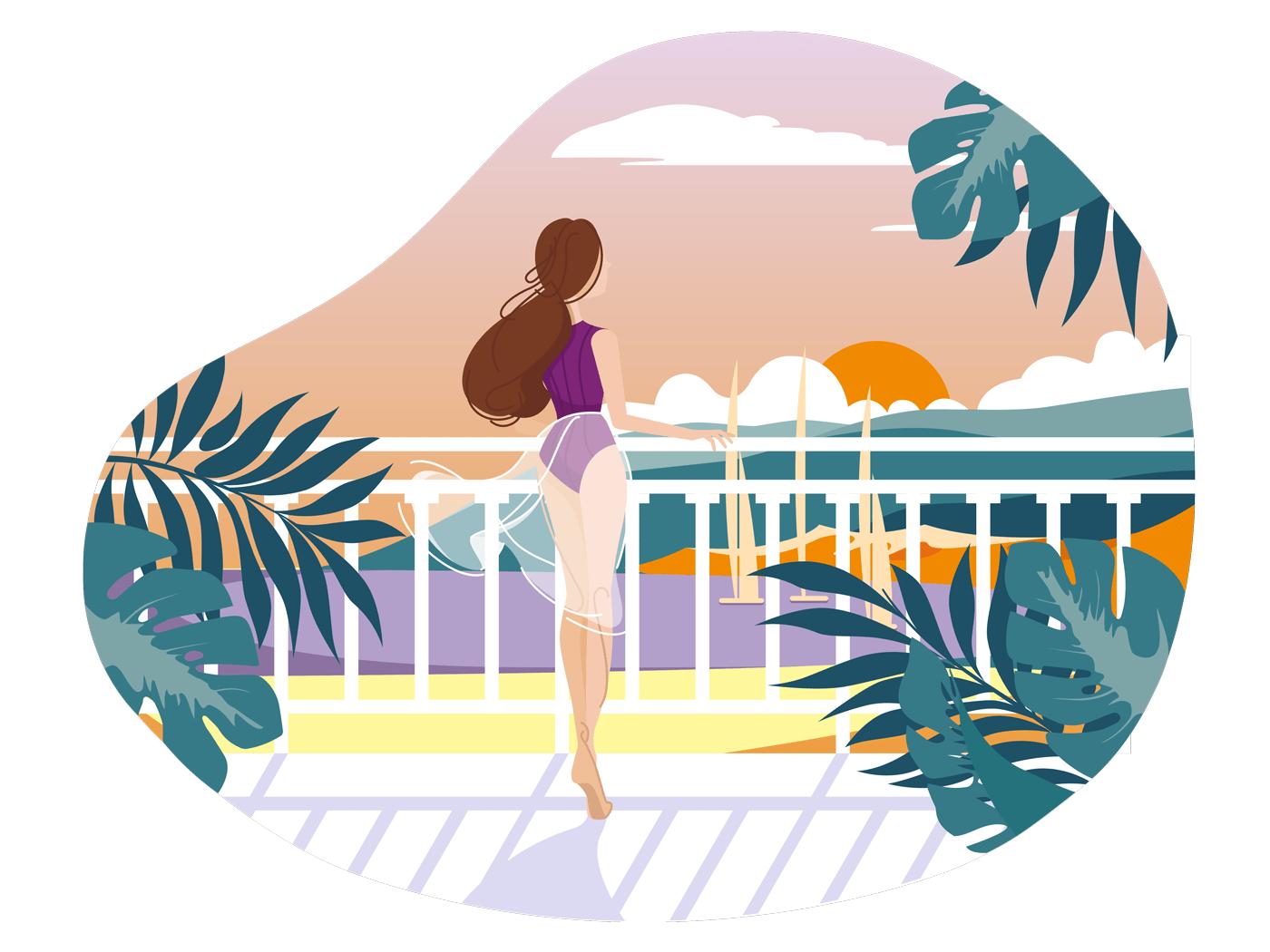 Girl on balcony waiting