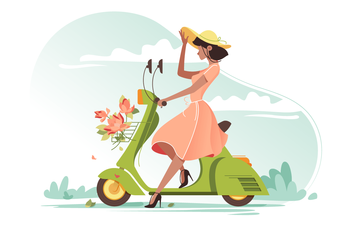 Young beautiful girl with long light dress, flowers and ladies hat on scooter.