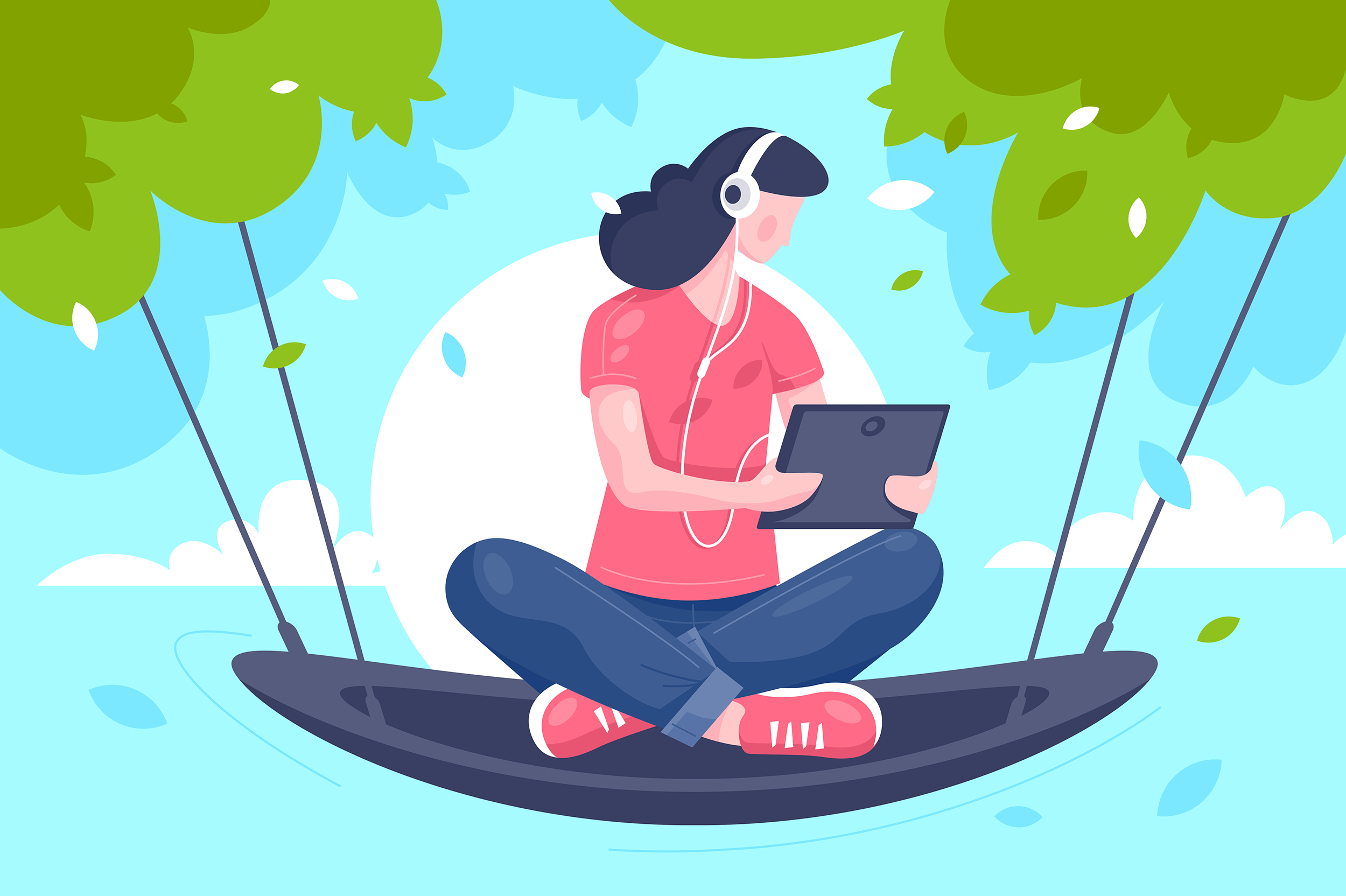 Flat young girl with tablet, headphones at hammock on tree.