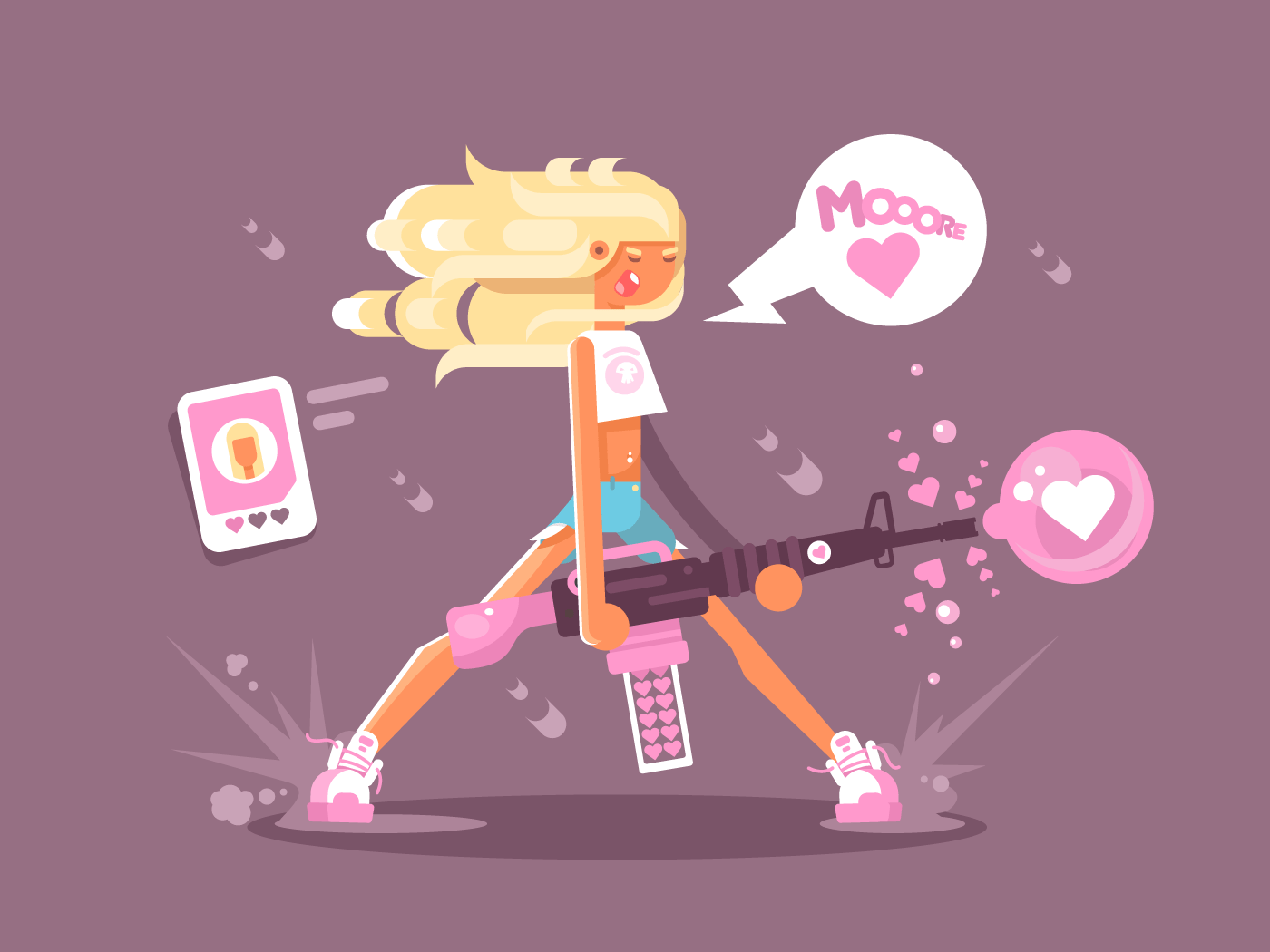 Girl with love gun flat vector illustration