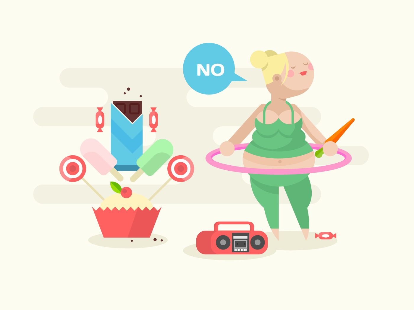 Fat girl with a hoop flat vector illustration