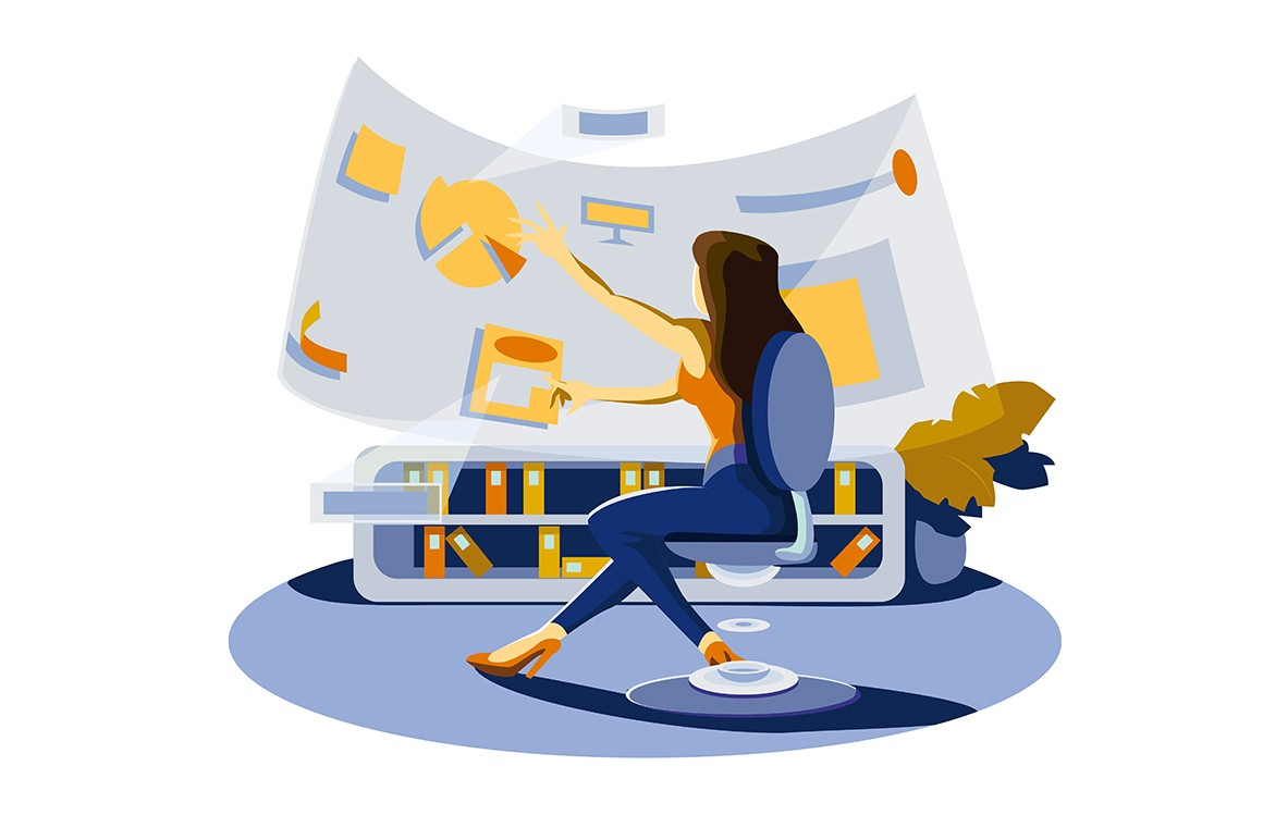 Woman near big screen vector illustration. Female working with data diagram on interactive folded display flat style design. Modern technologies concept