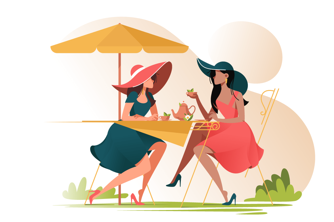 Flat young girl friends in cafe on meeting outdoors.