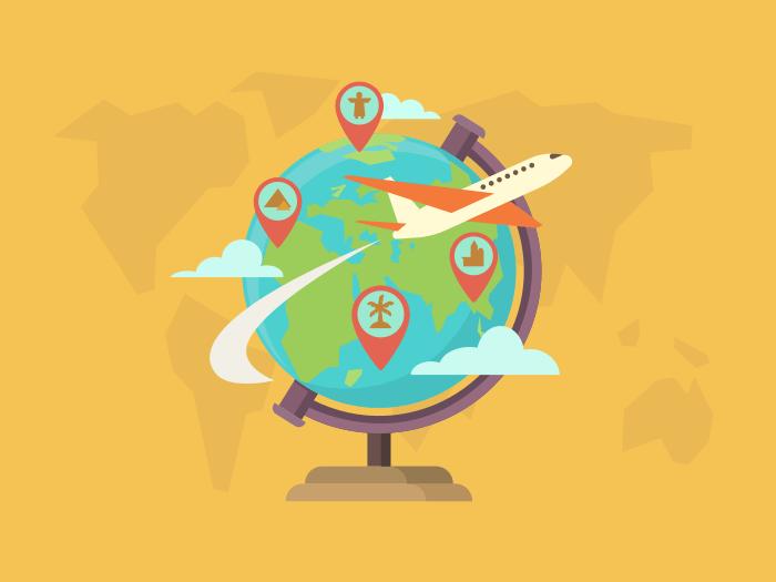 Travel around the world flat illustration