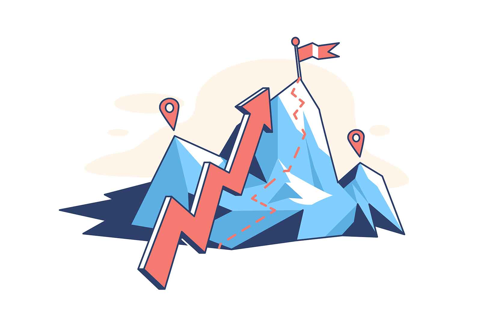 Mountain with arrow pointer vector illustration. Flag on top flat style. Ambition and brave aim. Business strategy and goal achievement concept. Isolated on white background
