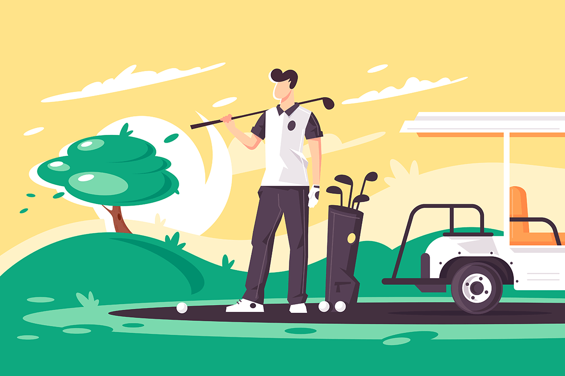 Flat young man with golf club, car on green field.