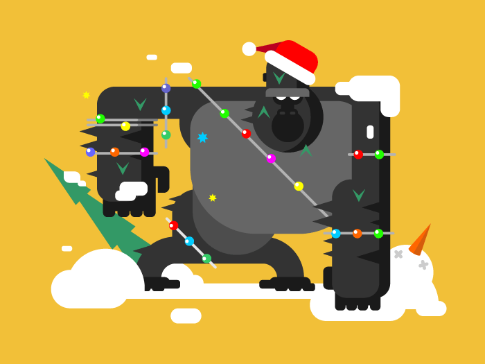 Christmas gorilla character flat vector illustration