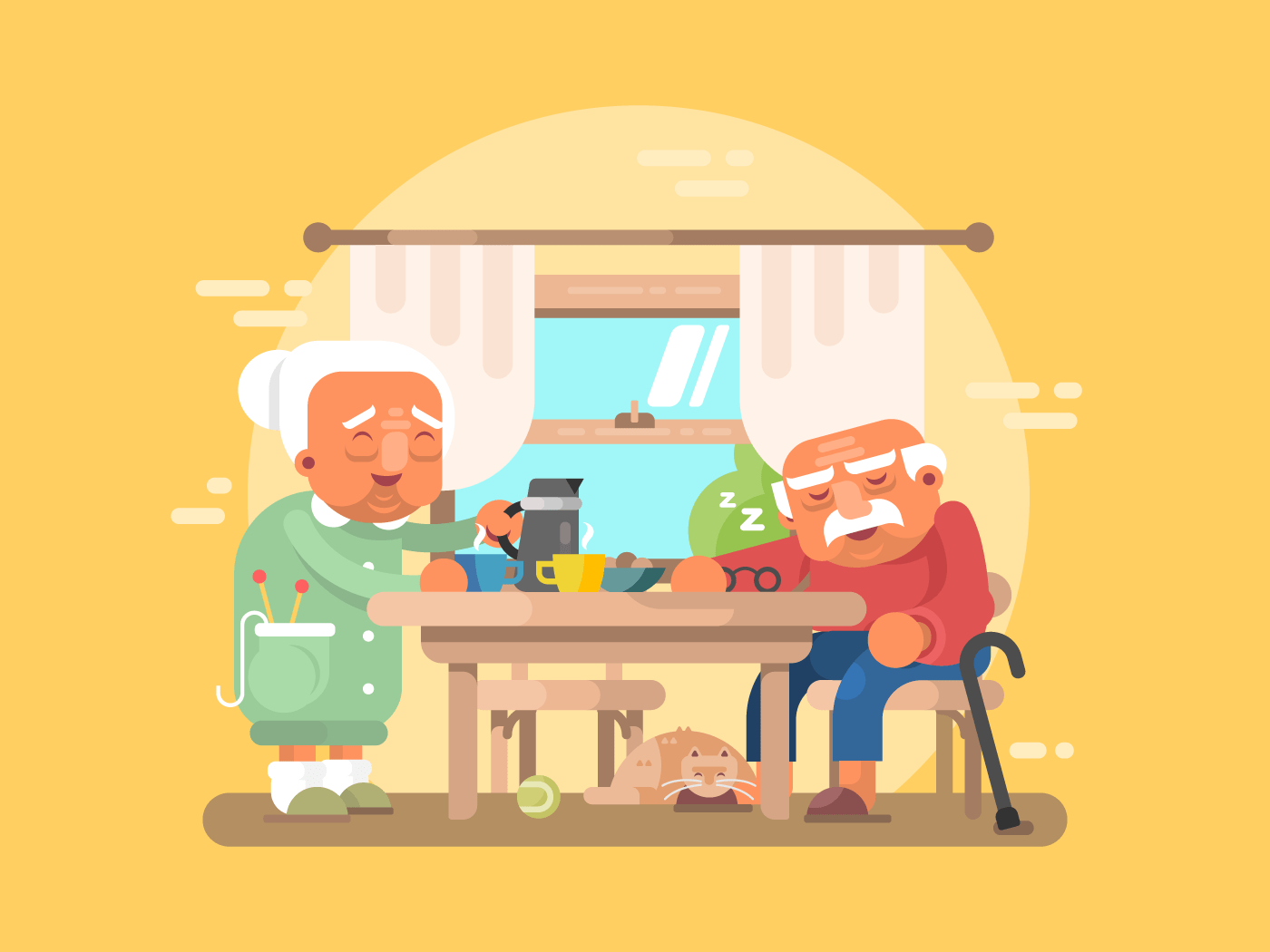 Grandparents breakfast flat vector illustration