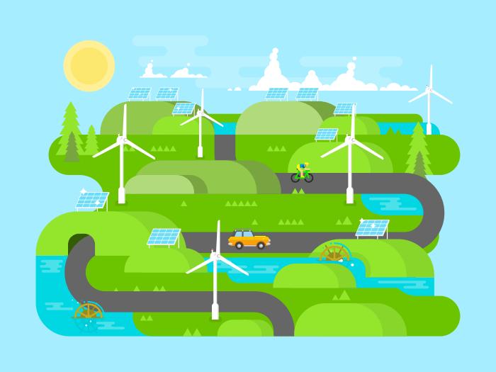 Green energy flat vector illustration