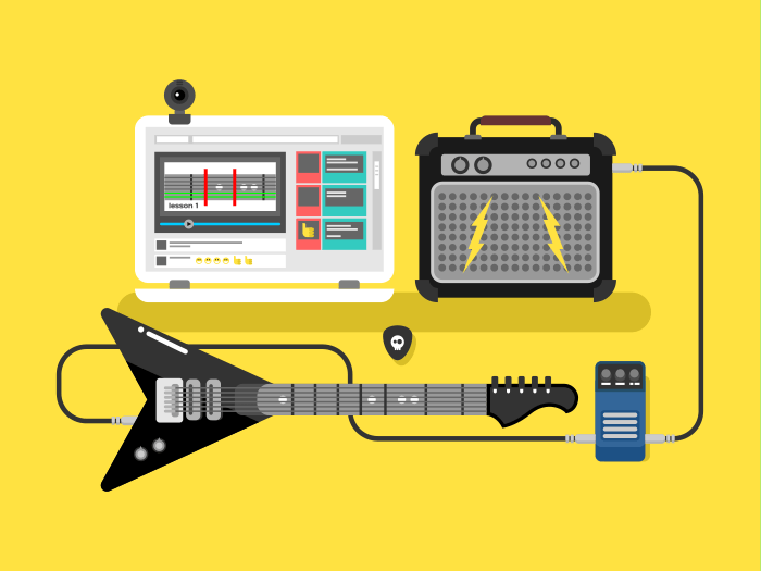 Learning guitar online flat vector illustration