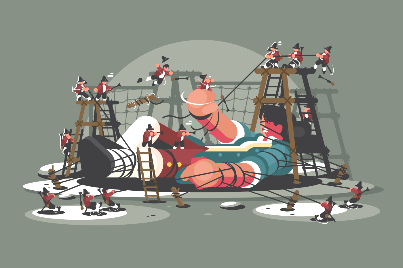 Gulliver lies bound by ropes. Lilliputians captured big man. Vector illustration
