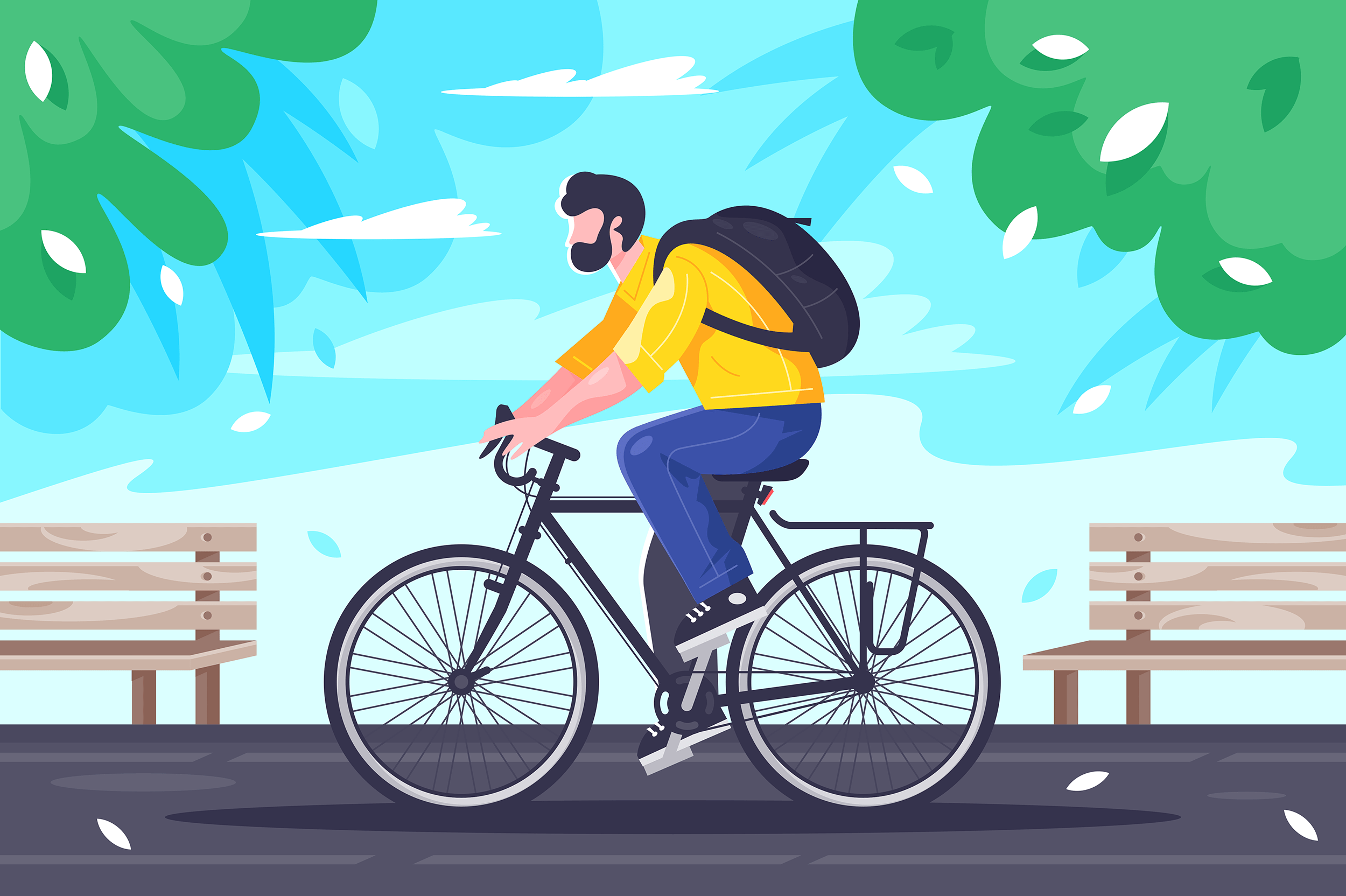 Flat young man with backpack rides on cycling at road.